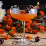 Manhtaan cocktail in a coupe, fall flowers behind