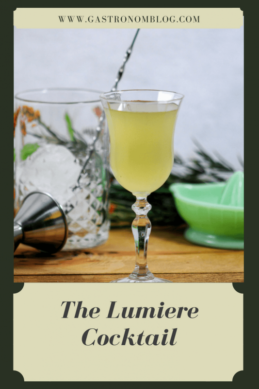 The Lumiere Cocktail - gin, St Germain Elderflower Liqueur, lime juice and orange bitters