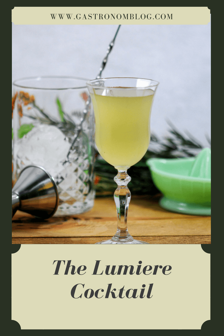 The Lumiere Cocktail with gin, green chartreuse and St. Germain Elderflower Liqueur, lime and bitters from Gastronomblog. This classic Chartreuse Gin Cocktail is sure to please! #cocktail #gastronomblog #recipes #lime #gin