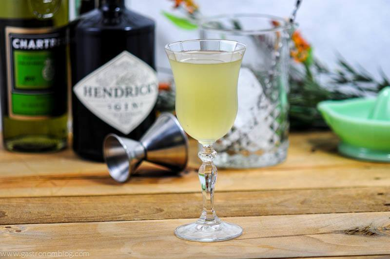 The Lumiere Cocktail - a combination of gin, green chartreuse and St Germain Elderflower liqueur #cocktail #cocktails #gin