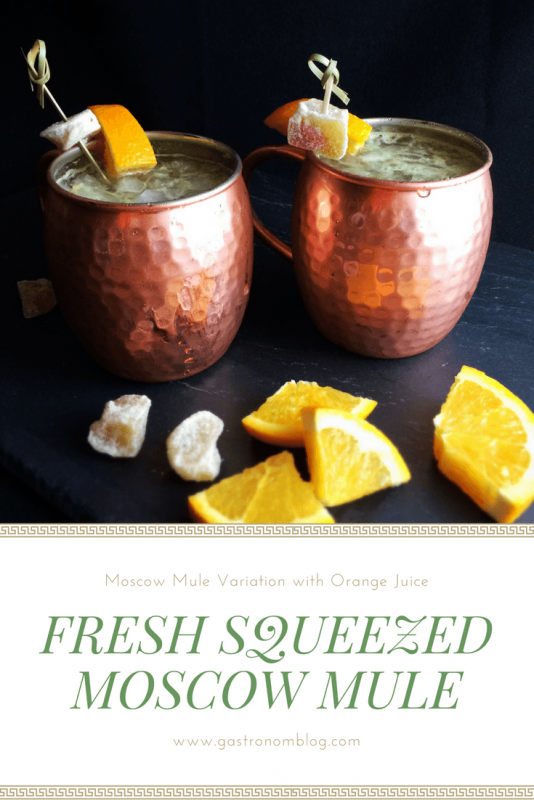 Fresh Squeezed Moscow Mule with orange juice, lime juice, ginger beer and vodka in a copper mug