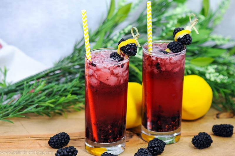 Muddled Blackberry Gin Cocktail in highball glasses