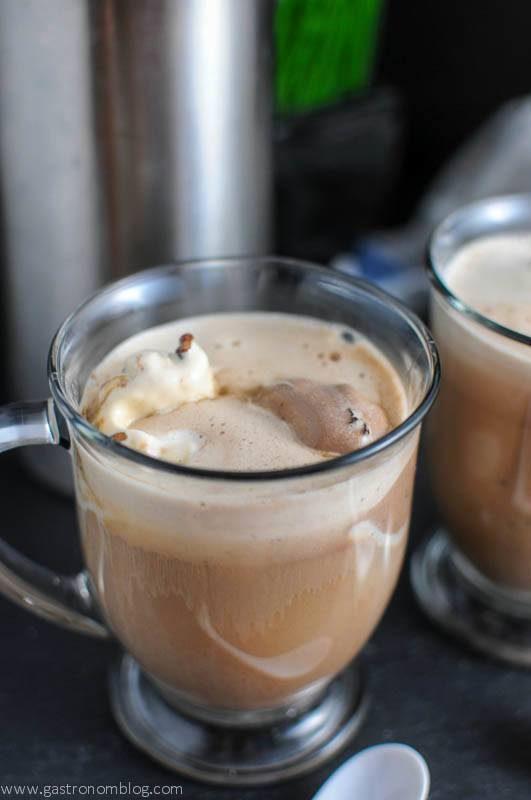 Brown affogato in glass mug with gelato and espresso