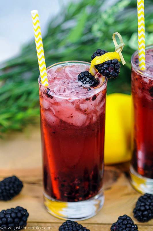 Muddled Blackberry Gin Cocktials in a highball