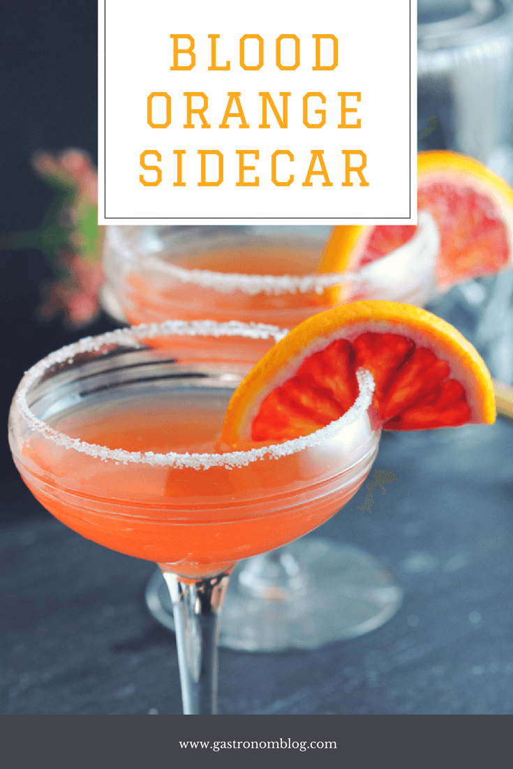 Blood Orange Sidecar cocktail - rum, brandy, blood orange juice, lime juice and orange liqueur from Gastronomblog. Cheers to this blood orange cocktail recipe! #cocktail #gastronomblog #orange #lime #classic