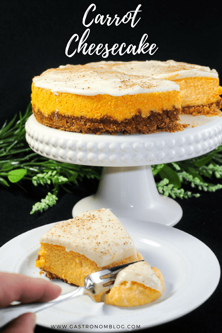 Carrot Cheesecake perfect for Easter Brunch, spring brunch, or just dessert. Carrots, cream cheese and graham cracker crust. #baking #dessert #vegetarian #cinnamon #vanilla #butter #easter #cheesecake #eggs #lemon