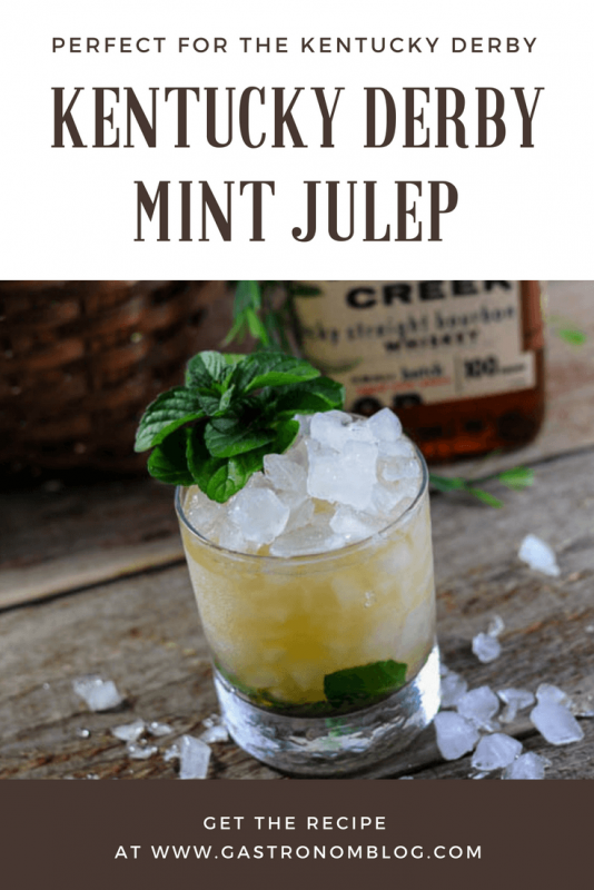 Mint Julep for the Kentucky Derby with bourbon, mint, simple syrup and crushed ice