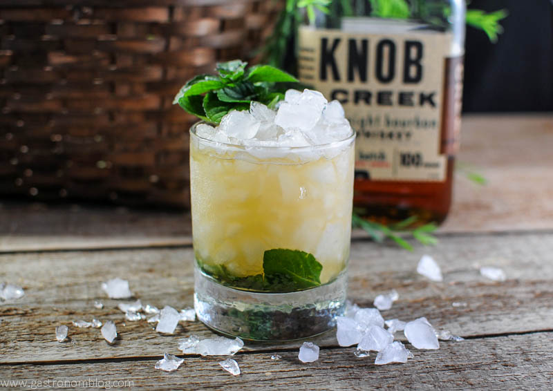 Mint Julep for the Kentucky Derby with bourbon, mint simple syrup and ice