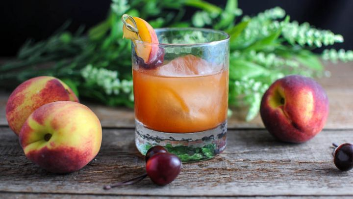 Fired Peach Old Fashioned Cocktail - bourbon, peaches, hot sauce
