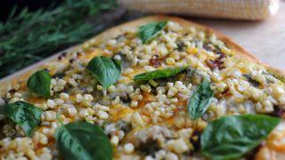 Sweet Corn, Pesto and Sausage Pizza