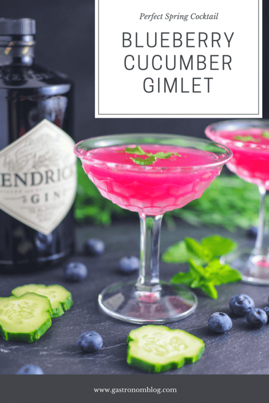 Blueberry Cucumber GImlet - cucumbers, blueberries, simple syrup, gin and lime juice