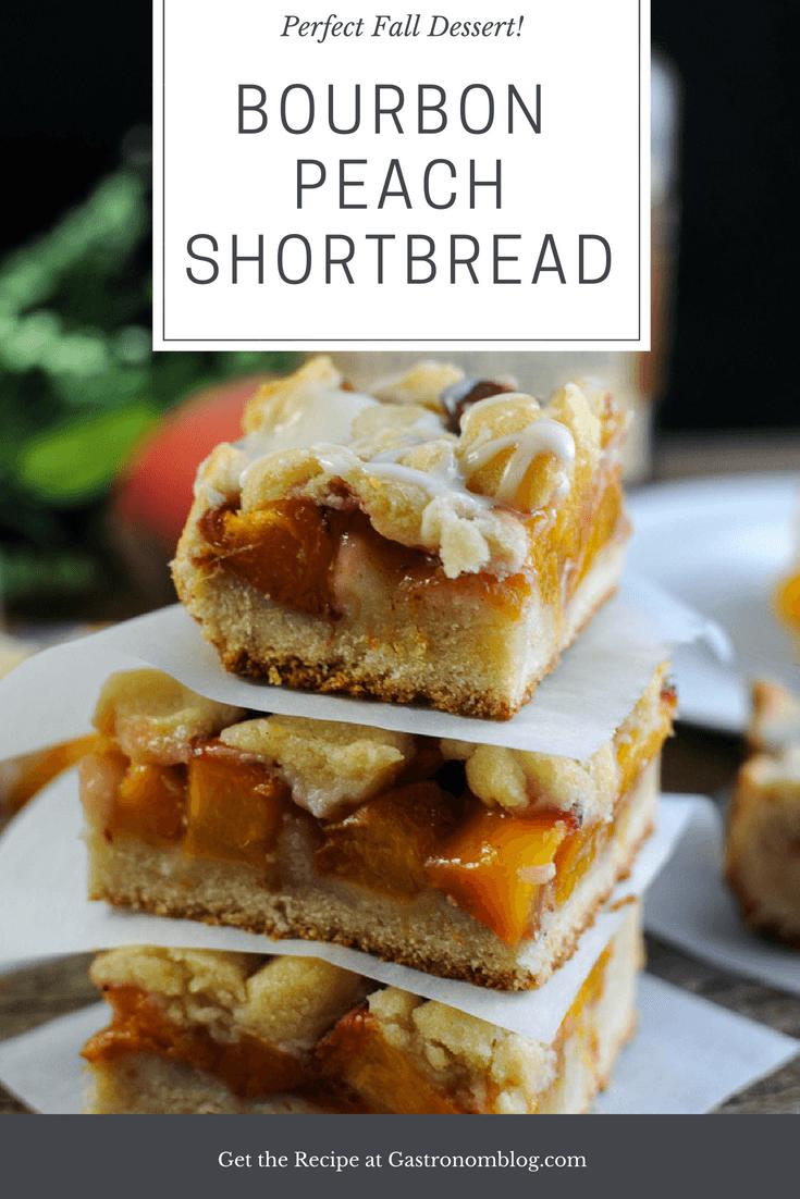 Bourbon Peach Shortbread Bars - bourbon, shortbread, peaches and bourbon icing on top. Perfect fall dessert. #dessert #fall #gastronomblog #baking #bourbon