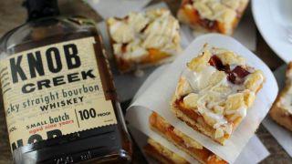 Bourbon Peach Shortbread Bars Dessert