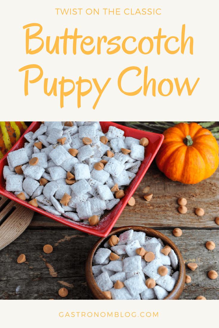 Butterscotch Blondie Puppy Chow - butterscotch, chex cereal, peanut butter, powdered sugar. #recipes #recipe #dessert #peanutbutter #gastronomblog