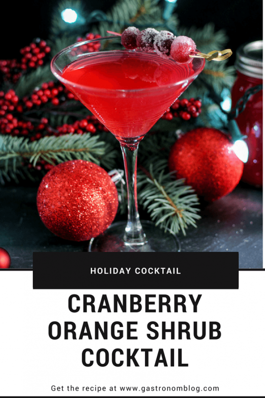 Cranberry Orange Shrub Cocktail - gin, cranberry orange shrub, cranberry simple syrup, orange bitters