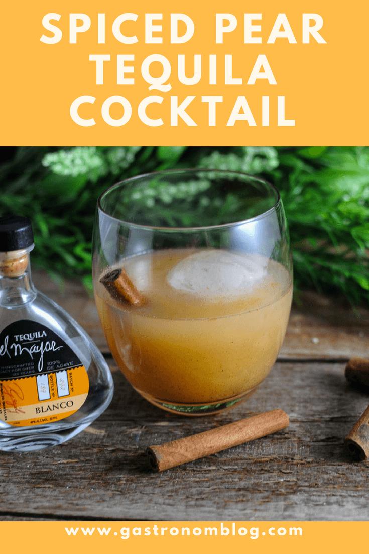 Spiced Pear Tequila Cocktail - tequila, pear nectar, cinnamon, honey, lemon juice, vanilla and citrus bitters from Gastronomblog. #cocktail #gastronomblog #lemon #tequila #recipes