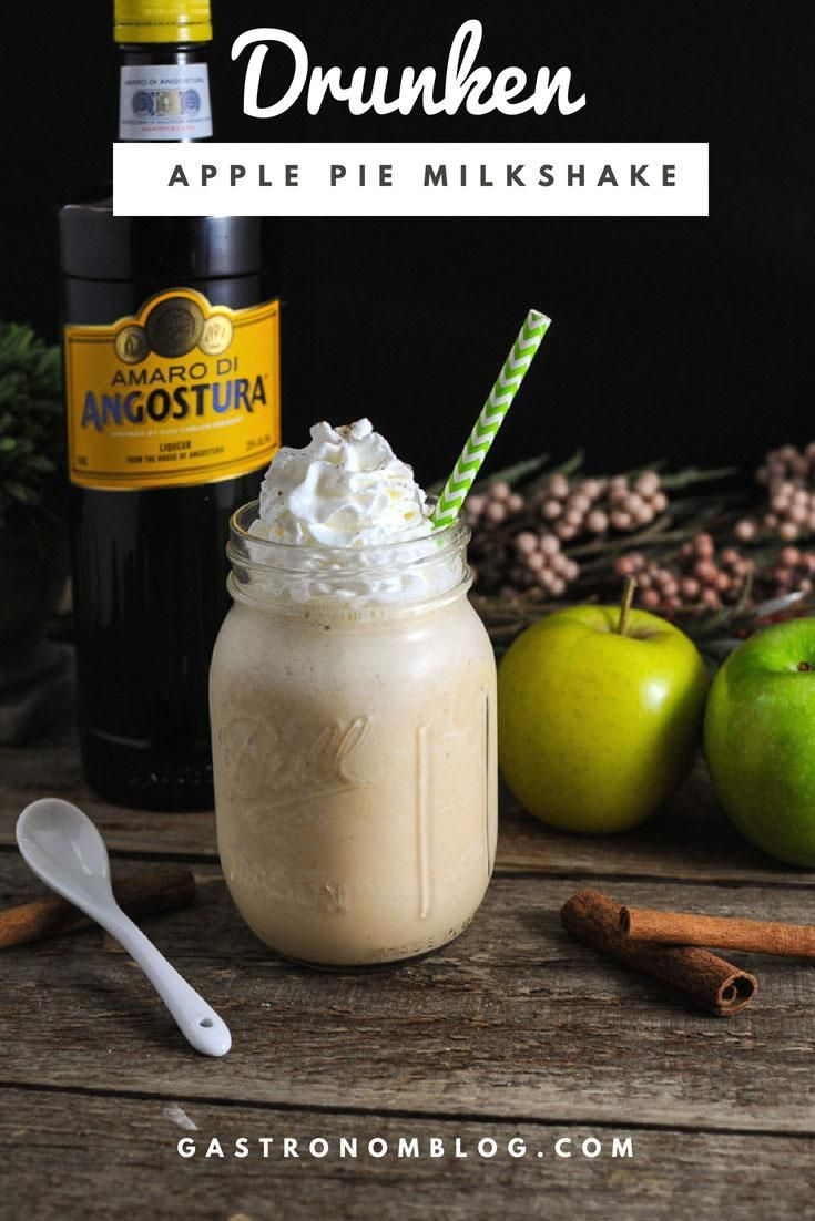 Drunken Apple Pie Milkshake - vodka apples, vanilla ice cream, amaro, whipped cream, cinnamon, nutmeg, graham cracker, milk for Gastronomblog. #cocktail #gastronomblog #dessert #fall #apple
