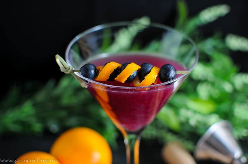 Garnet Martini in martini glass, orange and blueberries on cocktail pick
