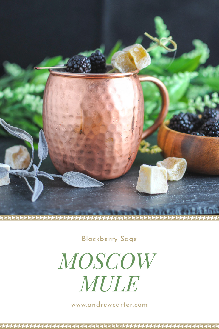 Blackberry Sage Moscow Mule - bourbon whiskey, blackberries, lime juice, sage simple syrup, ginger beer, all in a copper mug from Gastronomblog! #cocktail #bourbon #whiskey #gastronomblog #blackberry