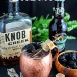 Cocktail in copper mug, bourbon bottle, ginger beer bottle, blackberries, sage and ginger chunks