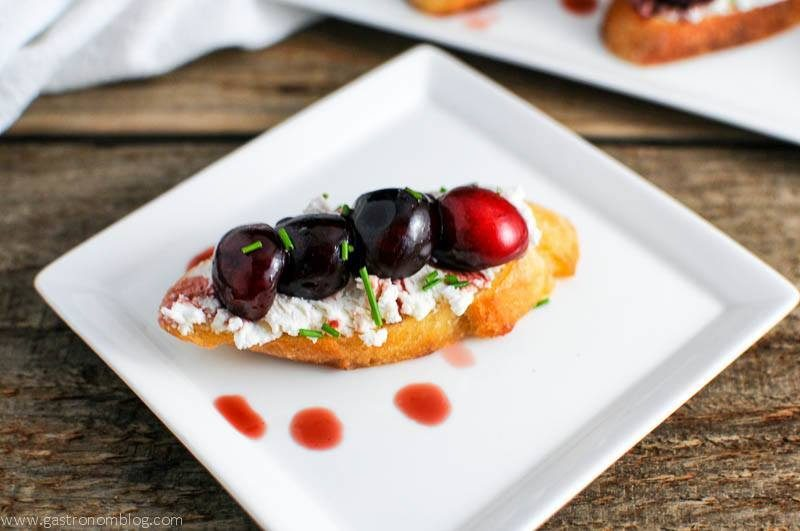 Cherry Balsamic Crostini on white plate