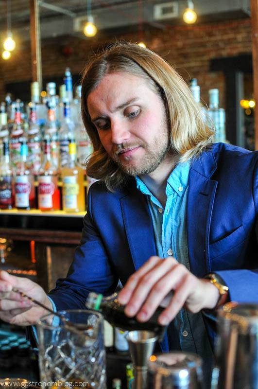 David Kerr, Owner of the Tavern Omaha mixes a drink.