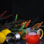 Red cocktail in rocks glass with ice ball and lemon peel