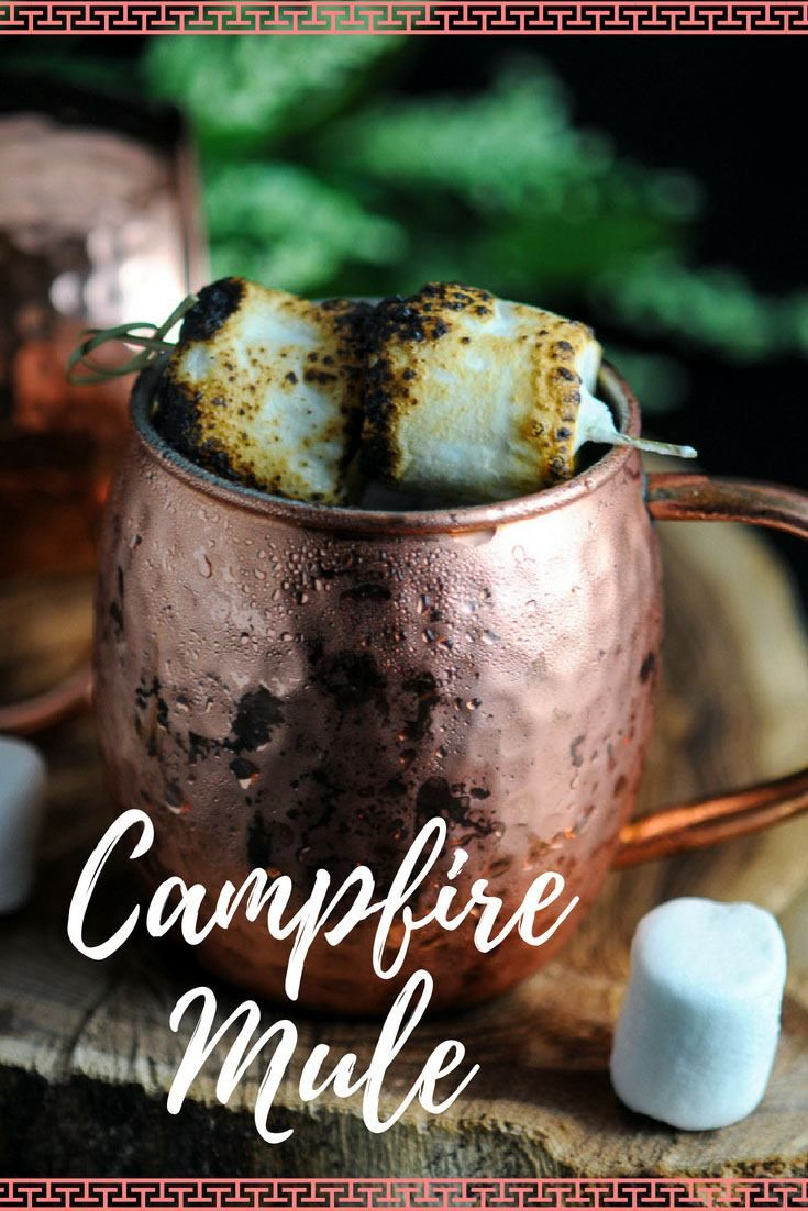 Campfire Moscow Mule - creme brulee liqueur, lime juice, ginger beer, marshmallow, vodka. This Campfire Mule is a great variation on the classic Moscow Mule! #cocktail #mug #marshmallow #gastronomblog #vodka