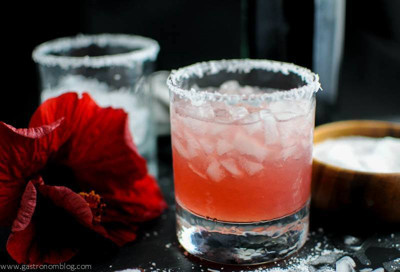 Hibiscus syrup gives the classic Salty Dog cocktail a sweet twist!