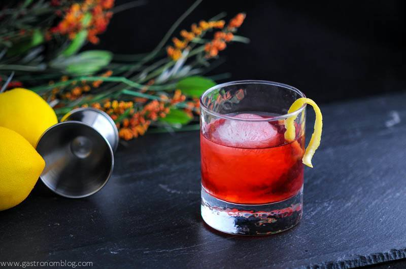 The Boulivardier - A Rye Whiskey cocktail combining Campari, sweet vermouth and Rye Whiskey