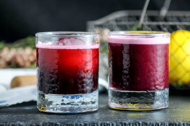 The Aronia Sour two ways, one with egg one without