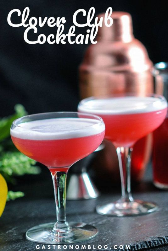 Clover Club Cocktail - gin, raspberries, egg white, lemon juice