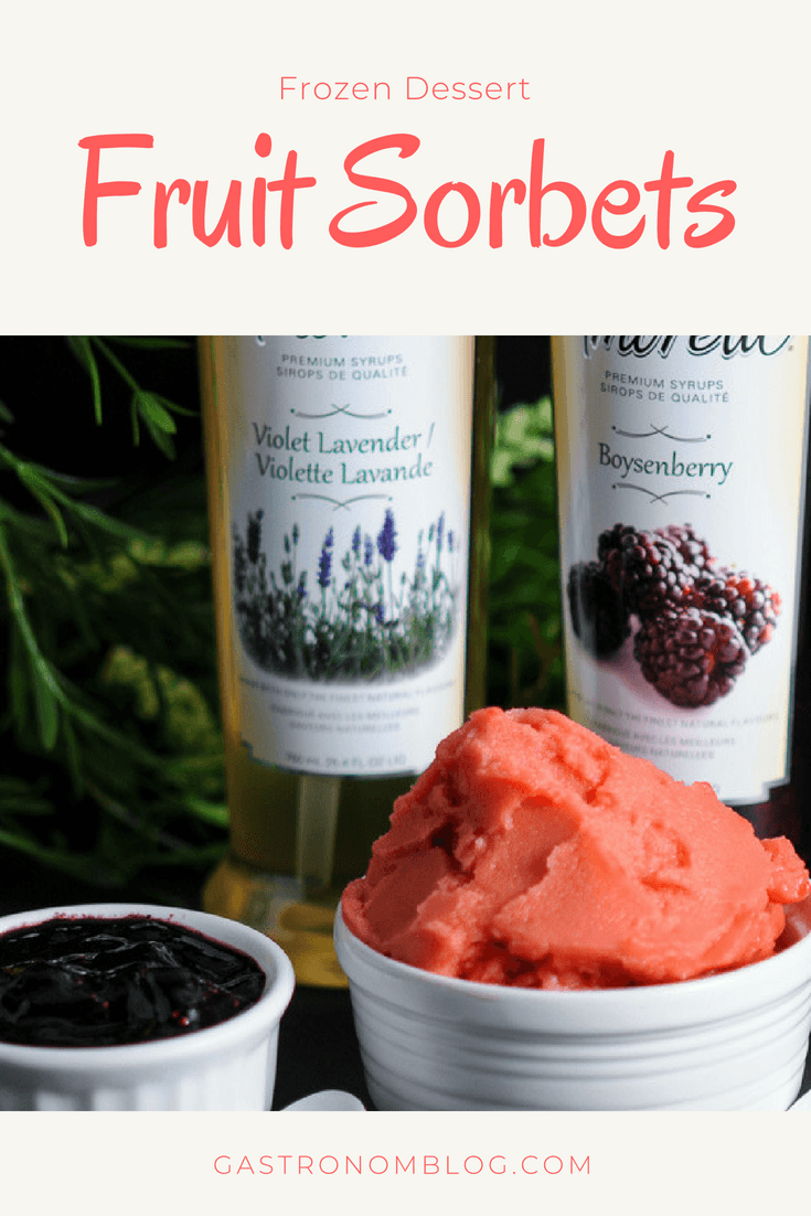 Fruit Sorbets  - Blackberry Lavender Violet and Watermelon Boysenberry sorbet. Blackberries, simple syrup and watermelon in these frozen desserts. #sponsored #dessert #blackberry #watermelon #gastronomblog