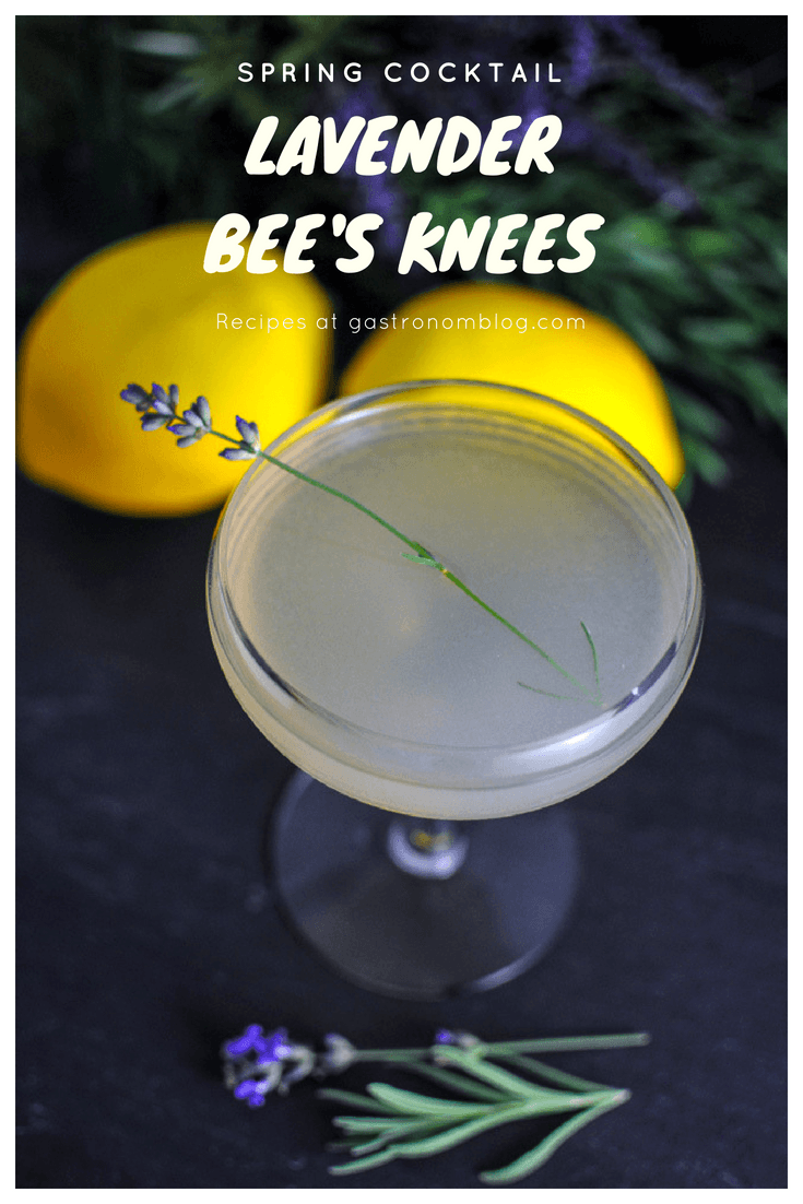Lavender Bee's Knees - gin, lavender simple syrup, lemon juice and honey recipe. A twist on a classic from Gastronomblog. This Bee's Knees cocktail lavender version is a great drink recipe! #prohibition #classic #cocktail #classiccocktail #gastronomblog