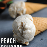 Ice creams in cones on slate board