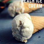 Peach Bourbon No Churn Ice Cream in cones on a slate