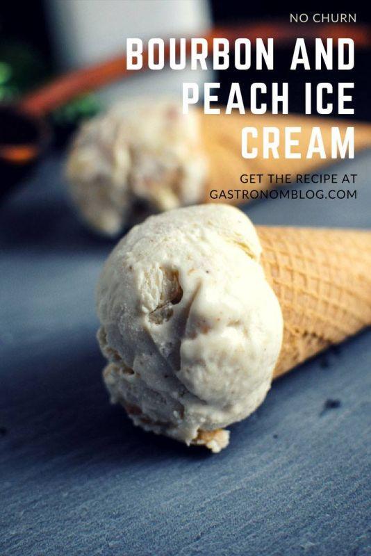 Peach Bourbon No Churn Ice Cream - sweetened condensed milk, peaches, butter, brown sugar, cinnamon, heavy whipping cream