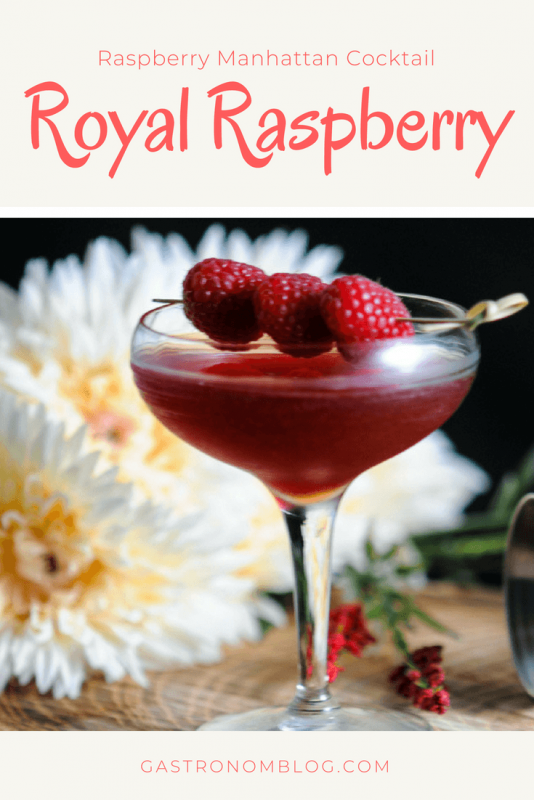 Royal Raspberry Manhattan Cocktail - rye whiskey, raspberries, cherry bitters, white vermouth