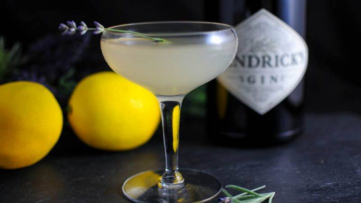 Lavender Bee's Knees light cocktail in coupe with lavender sprigs. Gin bottle and lemons behind