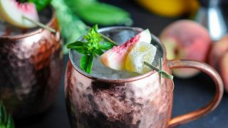 Peach and Basil Moscow Mule - A Vodka Cocktail