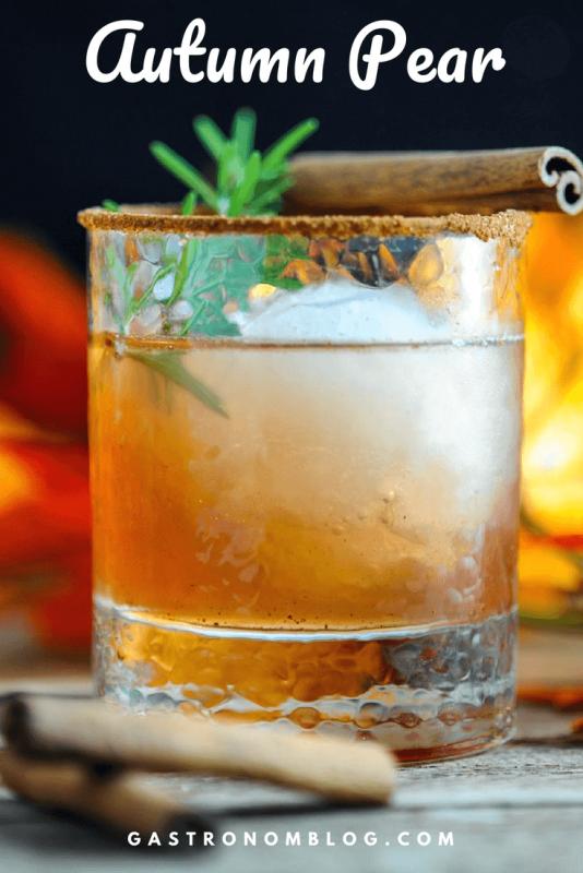 Autumn Pear Cocktail - bourbon, lemon juice, cinnamon and sugar, hard pear cider, clove simple syrup, bitters