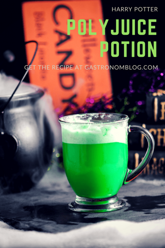 Harry Potter Polyjuice Potion Cocktail - vodka, lime sherbet, bitters, lemon lime soda, dry ice perfect for Halloween or a Harry Potter party.