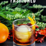 Old Fashioned cocktail in rocks glass with orange peel