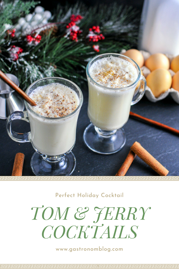 Tom and Jerry Brandy Cocktails - rum, cloves, cinnamon, nutmeg, vanilla, powdered sugar, eggs, frothed milk. Perfect for Christmas and Holiday Parties from Gastronomblog. This Tom and Jerry drink is an easy hot toddy made with eggs in batter. #christmas #holiday #cocktail #eggs #gastronomblog