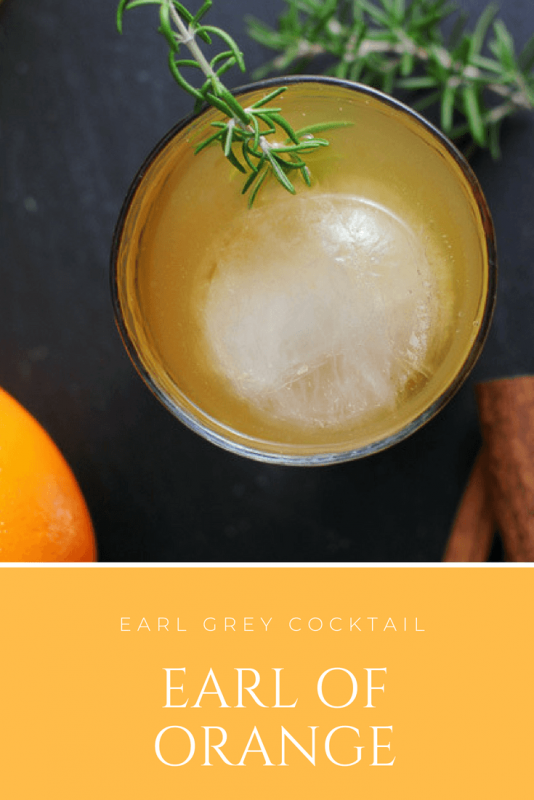 Earl of Orange Cocktail - bourbon whiskey, orange juice, Earl Gray tea, citrus bitters, spiced orange simple syrup