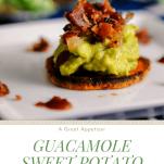 Guacamole Sweet Potato Bacon Bites Appetizer on white plate