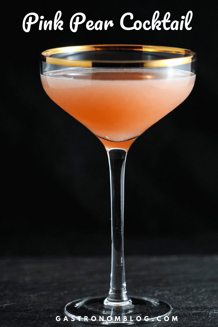 The Pink Pear Gin Cocktail - simple syrup, gin, pear nectar, grapefruit juice, orange liqueur, salt. This recipe also has triple sec. #sponsored #gin #orange #cocktail #gastronomblog