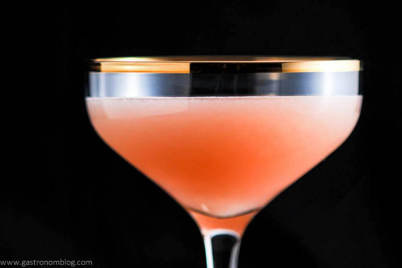 The Pink Pear cocktail, gold rimmed coupe