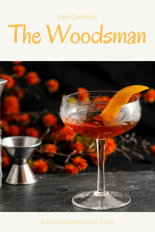 The Woodsman - An Apple Brandy and Ginger Cocktail - Angostura bitters, ginger liqueur, maple syrup, apple brandy. A great fall cocktail.