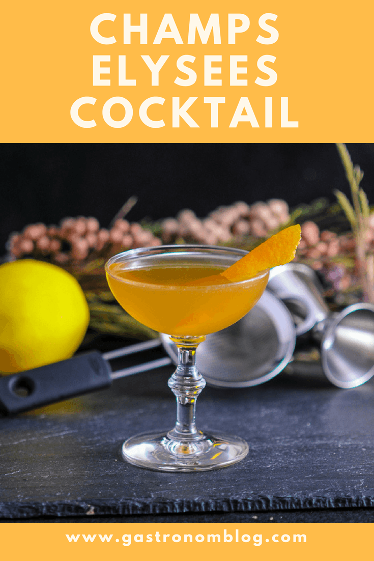 Champs Elysees - A Brandy Cocktail, Calvados Apple brandy, green chartreuse, lemon juice, simple syrup, Angostura bitters, salt. #cocktail #classic #lemon #gastronomblog #france